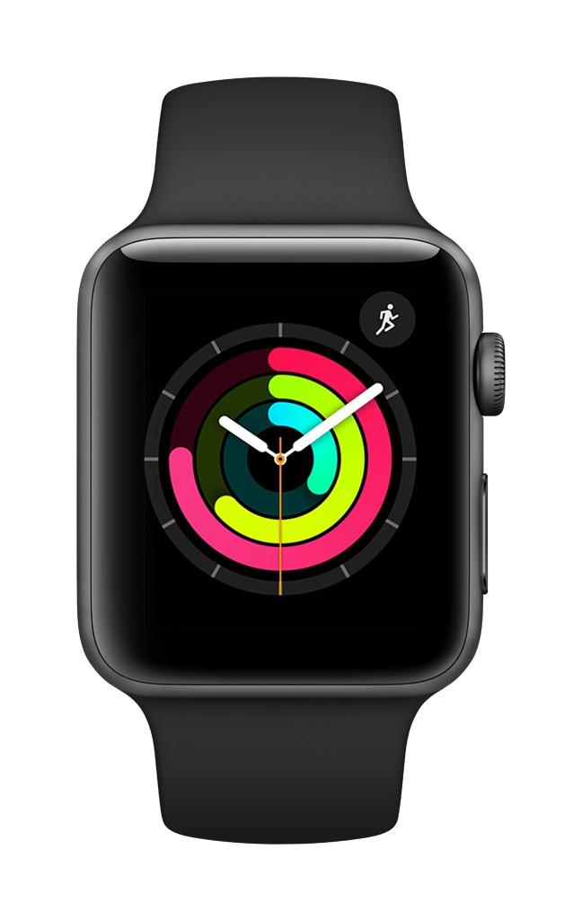 Apple Watch Series 3 GPS, 42mm Space Grey Aluminium Case  Black Sport Band